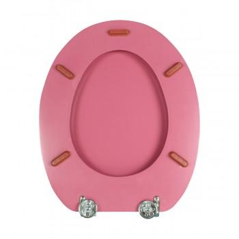 <PRE> Pink Hard Wood Toilet Seat Elongated Chrome Brass Hinge </PRE>zoom7