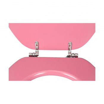 <PRE> Pink Hard Wood Toilet Seat Elongated Chrome Brass Hinge </PRE>zoom9