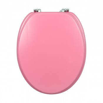 <PRE> Pink Hard Wood Toilet Seat Elongated Chrome Brass Hinge </PRE>zoom10