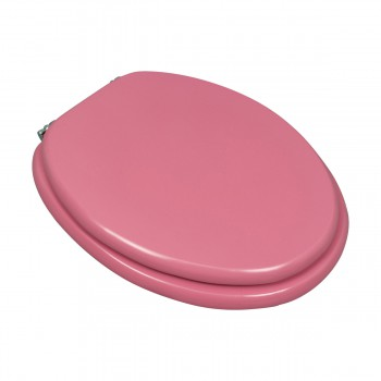 Pink Hard Wood Toilet Seat Elongated Chrome Brass Hinge 17776grid