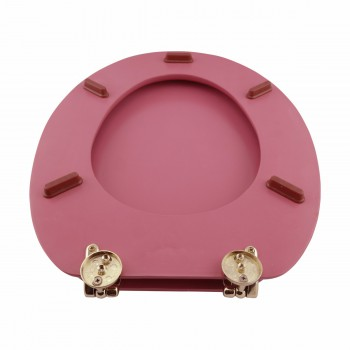 <PRE>Hard Wood Pink Toilet Seat Elongated Gold Solid Brass Hinge </PRE>zoom4
