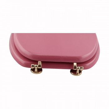 <PRE>Hard Wood Pink Toilet Seat Elongated Gold Solid Brass Hinge </PRE>zoom6