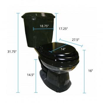 spec-<PRE>Black Dual Flush Two- Piece Elongated Toilet</PRE>
