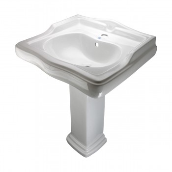 Renovators Supply White Vitreous China Bathroom Pedestal Sink Overflow Hole