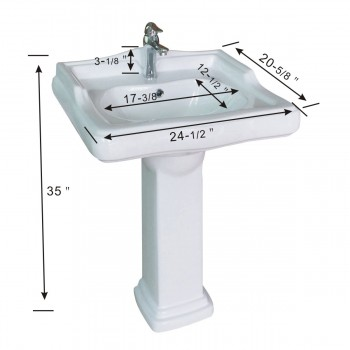 spec-<PRE>China Pedestal Sink White Grade A Vitreous Scratch Resistant with Overflow Hole</PRE>