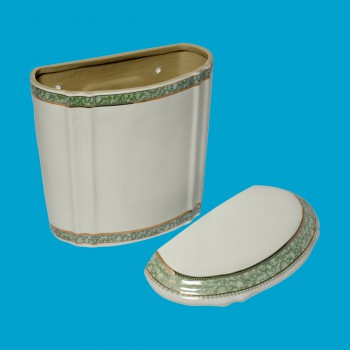 <PRE>Part White/Green Vitreous China Toilet TANK ONLY L-pipe Sage Gr. & Gol</PRE>zoom2