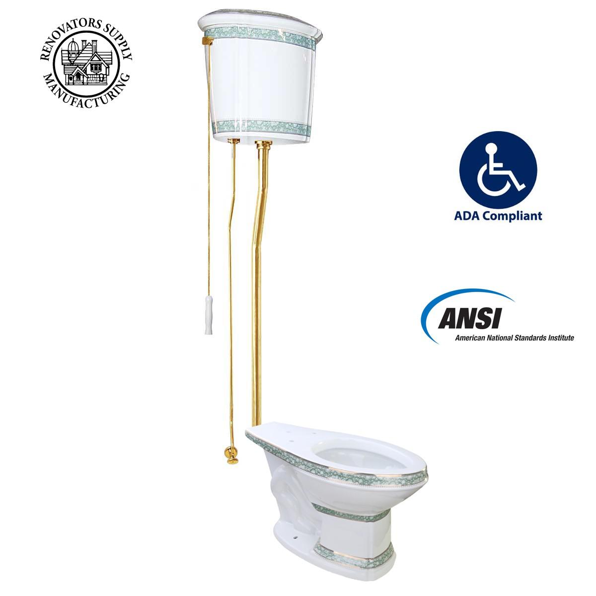 White China High Tank Toilet Green Trim Elongated Bowl