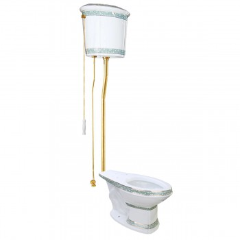 White China High Tank Toilet Green Trim Elongated Bowl Brass LPipe