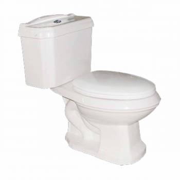 Two Piece Dual Flush Elongated Bathroom Toilet No-Slam Seat Included17804grid