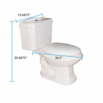 spec-<PRE>Two Piece Dual Flush Elongated Bathroom Toilet No-Slam Seat Included</PRE>
