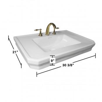 spec-<PRE>Bathroom Pedestal Sink Basin White China Victoria Widespread</PRE>