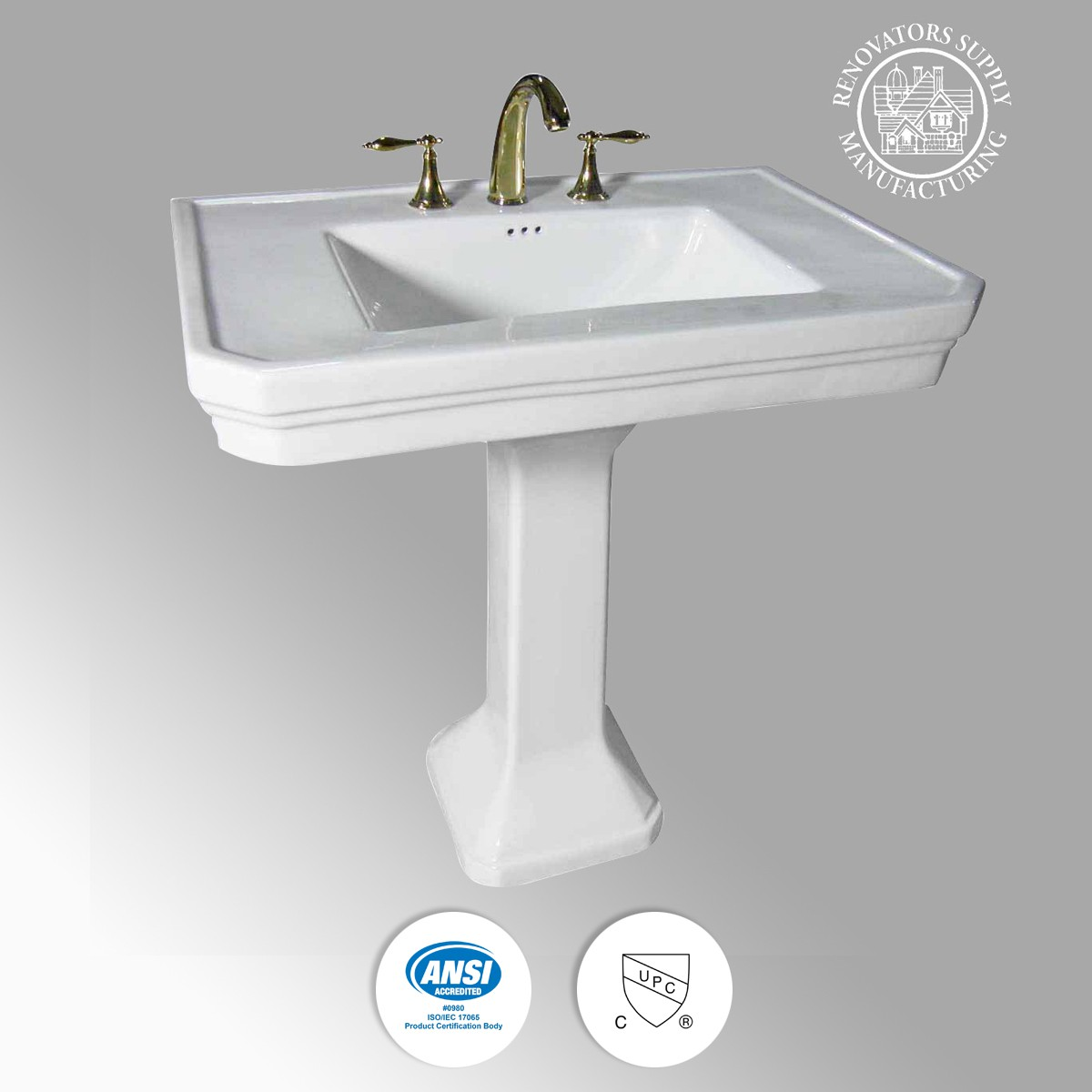 U003cPREu003eWhite Large Vitreous Victorian Pedestal Sink With Widespread Faucet  Holesu003c/ ...