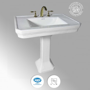 Victoria Pedestal Sink White 8 in. Widespread - Floor Heat Registers, Aluminum, steel, wood and brass Floor heat registers info & free shipping by Renovator's Supply.