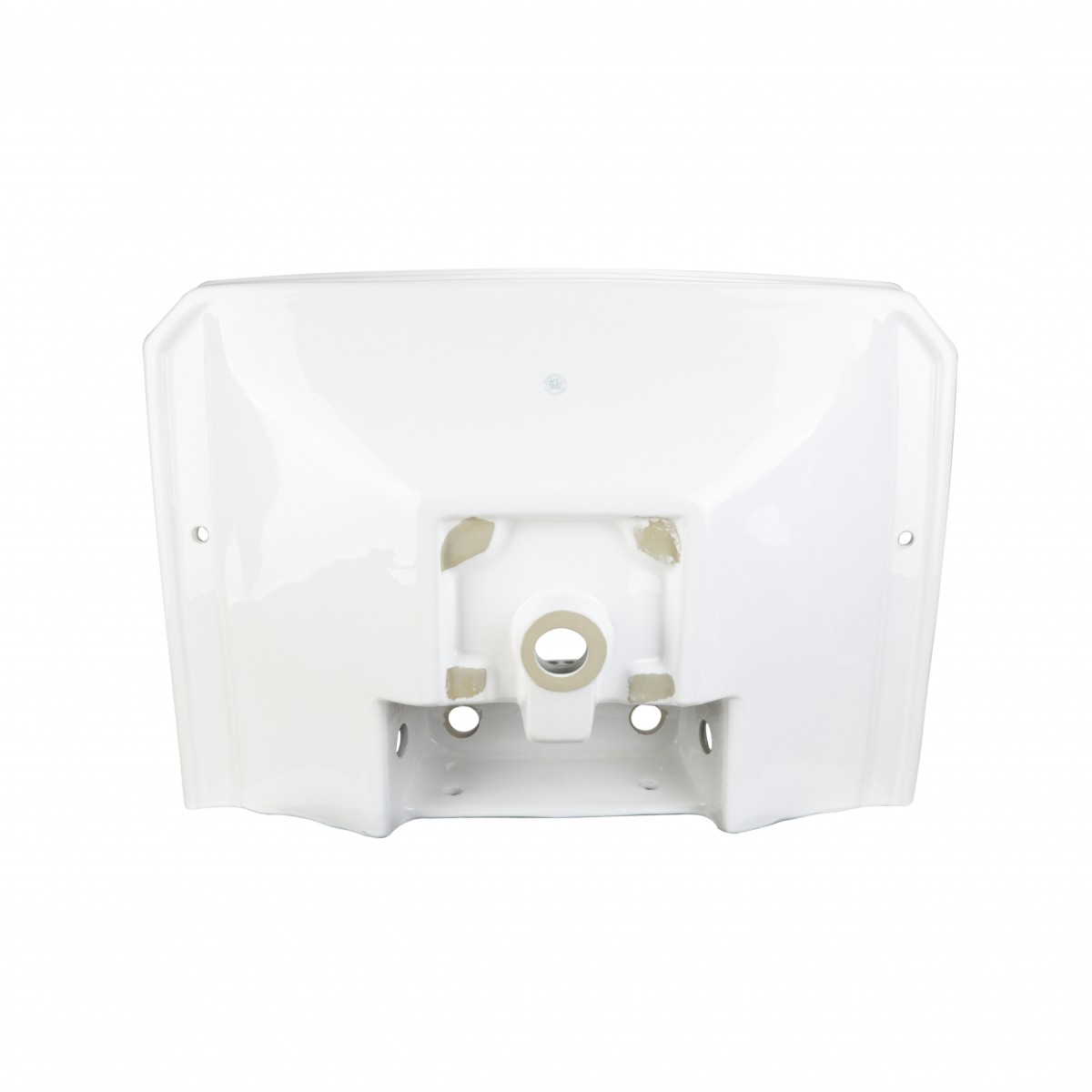 Renovators Supply Large Bathroom White Pedestal Sink 8 Wide Spread Faucet Holes Widespread Pedestal Sink Modern Bathroom Pedestal Sink Classic Bathroom Sinks