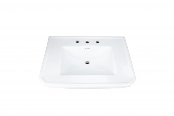 <PRE>White Large Vitreous Victorian Pedestal Sink with Widespread Faucet Holes</PRE>zoom3