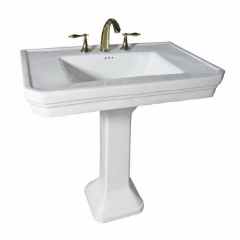 White Large Vitreous Victorian Pedestal Sink with Widespread Faucet Holes17817grid