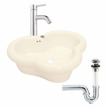 <PRE>Bathroom Vessel Sink Bone Single Hole Faucet/Drain/P-Trap </PRE>zoom1
