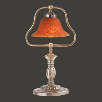 Table Lamps - Table Lamp Amber Glass Shade Antique Brass by the Renovator's Supply