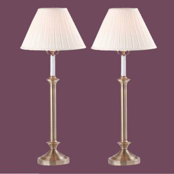 spec-<PRE>Table Lamp White Antique Brass Lamp Pair 27&quot;H </PRE>