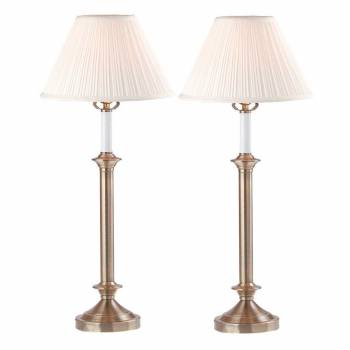 <PRE>Table Lamp White Antique Brass Lamp Pair 27inchH </PRE>zoom1