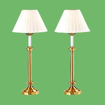 Table Lamps - Table Lamp Pair White Shade Polished/Lacquered Brass by the Renovator's Supply