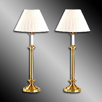 <PRE>Table Lamps Brass Pair 27&quot;H </PRE>