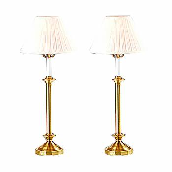 Table Lamp Pair White Shade Polished/Lacquered Brass