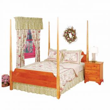 Shaker 4 Post Bed Heirloom Stain Maple Posts Pine Headboard & Footboard