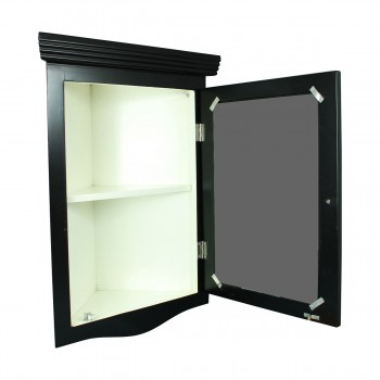 <PRE>Black Solid Wood Corner Medicine Cabinet Recessed Mirror </PRE>zoom5