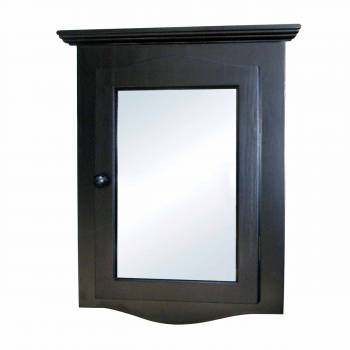 Black Solid Wood Corner Medicine Cabinet Recessed Mirror