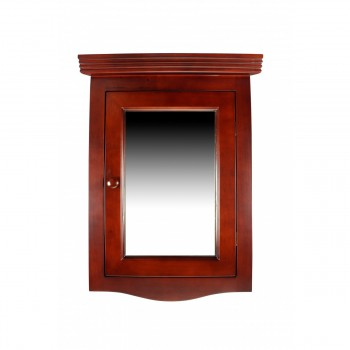Renovator's Supply Cherry Hard Wood Corner Wall Mount Medicine Cabinet Mirror17909grid