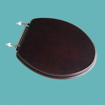 <PRE>Toilet Seats Dark Oak Hardwood Round Chrome Imperfect </PRE>zoom2