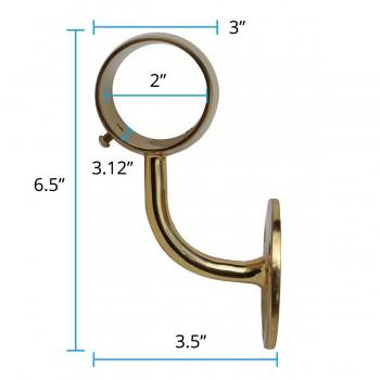 """spec-<PRE>Brass Loop Style Wall Mount Bar Bracket Fitting 2"""" OD </PRE>"""