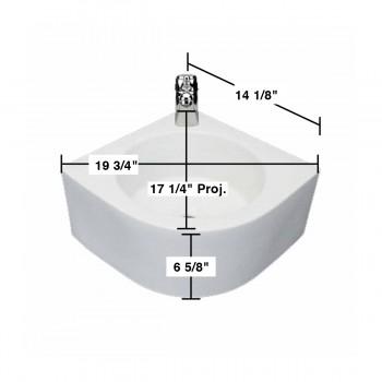 spec-<PRE>Bathroom Corner Vessel Sink White China Melinda Faucet Hole </PRE>