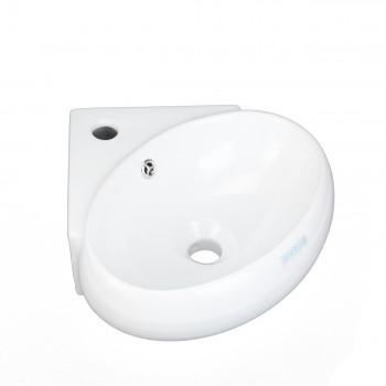 <PRE>White Corner Bathroom Wall Mount Sink Vessel Counter Round </PRE>zoom3