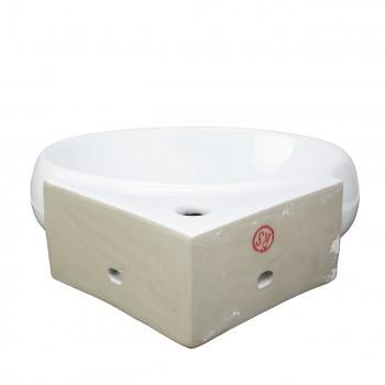 <PRE>White Corner Bathroom Wall Mount Sink Vessel Counter Round </PRE>zoom4