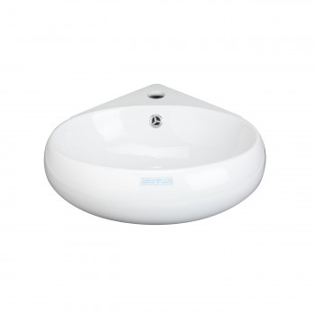 <PRE>Renovator's Supply White Corner Bathroom Wall Mount Sink Vessel Counter Round </PRE>zoom5