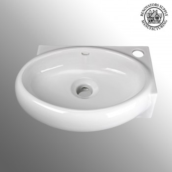 Carlingwood White Corner Vessel Sink Wall or Over Counter Mount - Vessel Sinks by Renovator's Supply.