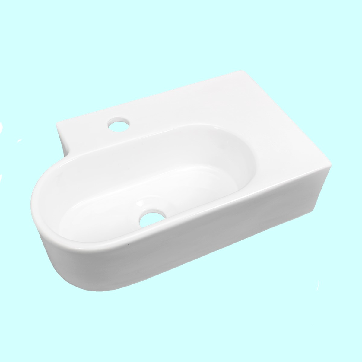 White Color Edwin Corner Wall Or Over Counter Mount Sink