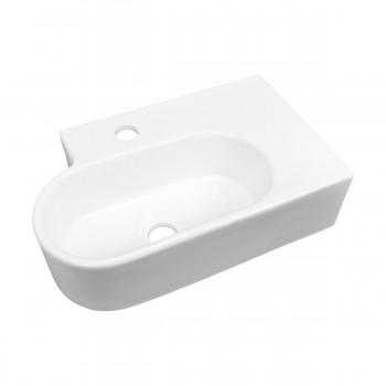 White Corner Sink Bathroom Vitreous China Gloss Finish 17942grid