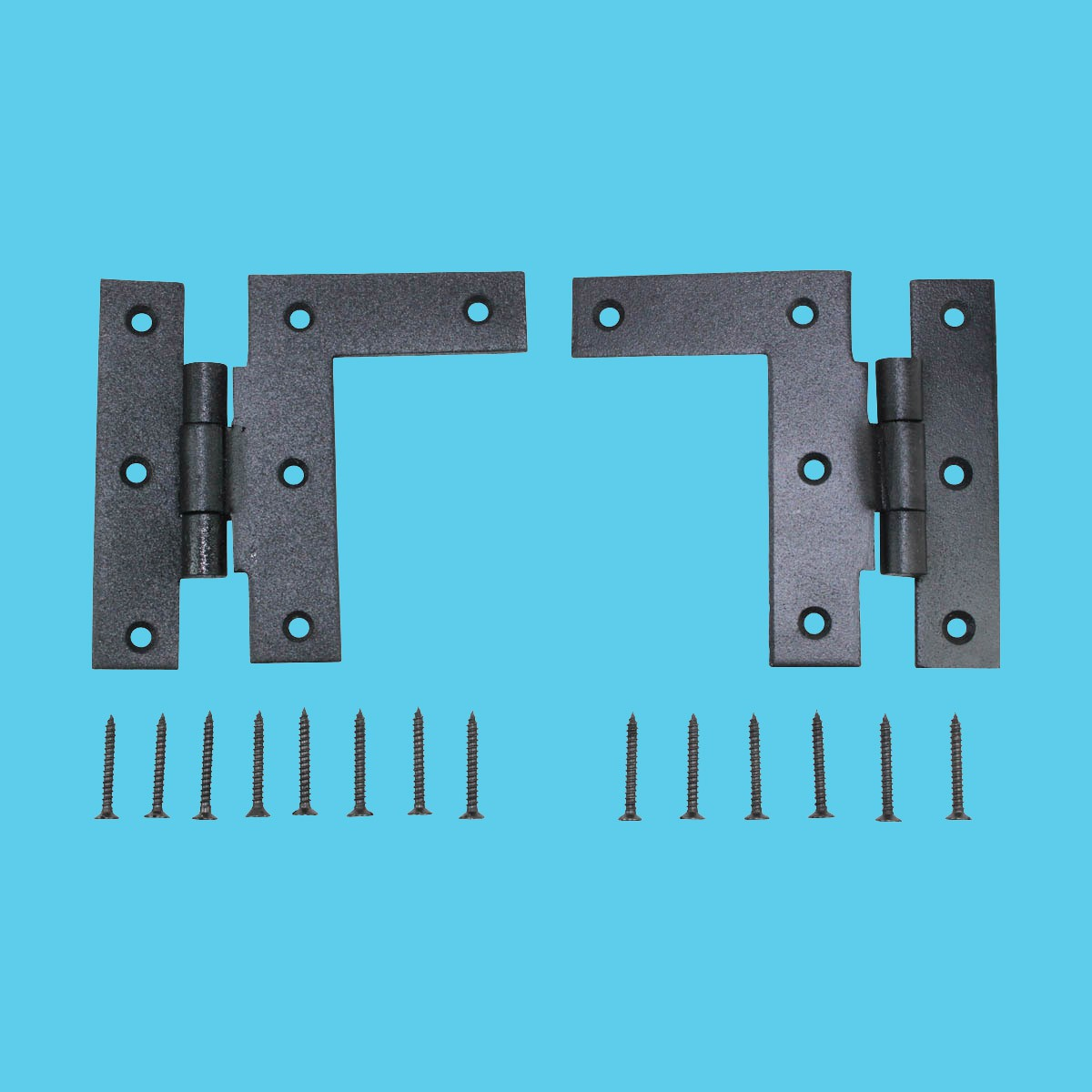 Pair Left and Right H-L Wrought Iron Cabinet Hinge 3 1/2\