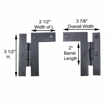 spec-<PRE>Pair Left and Right H-L Wrought Iron Cabinet Hinge 3 1/2&quot; H, 3/8&quot; Offset</PRE>