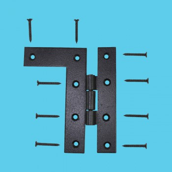 Pair Flush HL Cabinet Hinge Wrought Iron 4.5H Wrought Iron Door Hinges Black Door Hinges Rustproof Cabinet Hinges