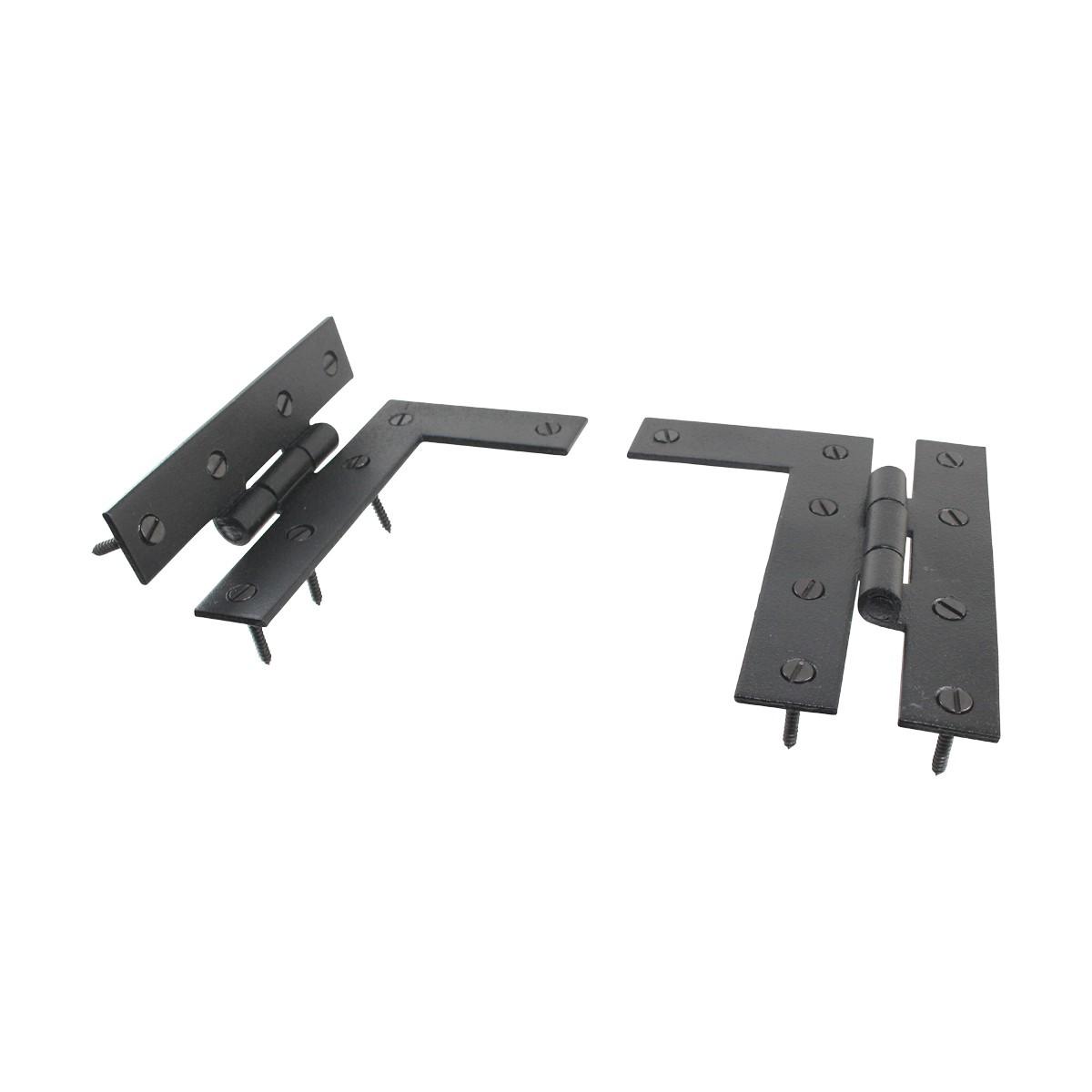 Pair Flush HL Cabinet Hinge Wrought Iron 4.5H Wrought Iron Door Hinges Black Door Hinges Rustproof Cabinet Hinges