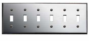 Switchplate Chrome Six Toggle 18120grid