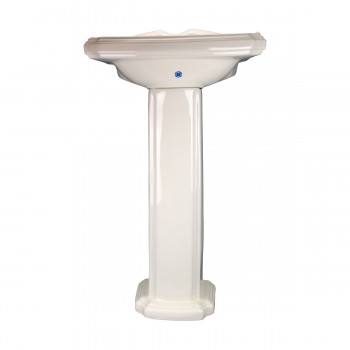 Cloakroom Pedestal Sink Bone 4 inch Centerset - Floor Heat Registers, Aluminum, steel, wood and brass Floor heat registers info & free shipping by Renovator's Supply.