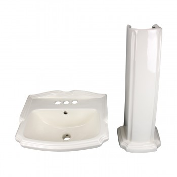<PRE>Biscuit China Bathroom Pedestal Sink Cloakroom Rectangular Gloss Centerset</PRE>zoom9