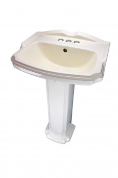 Biscuit China Bathroom Pedestal Sink Cloakroom Rectangular Gloss Centerset18149grid
