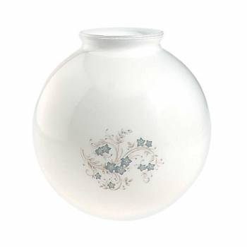 Glass Lamp Shade White/Blue Globe 8.25