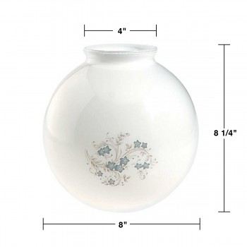 spec-<PRE>Glass Lamp Shade White/Blue Globe 8.25&quot;H x 4&quot; Fitter </PRE>